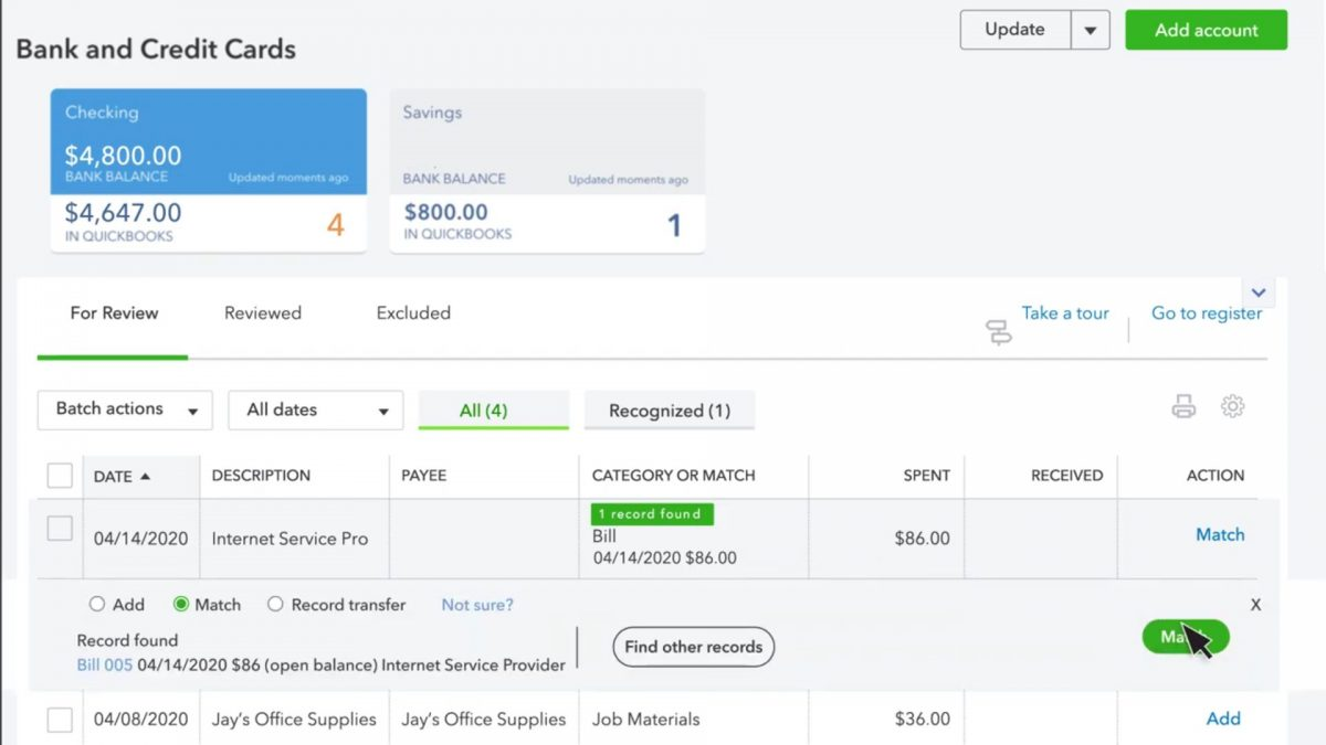 record a bank payment inside quickbooks online