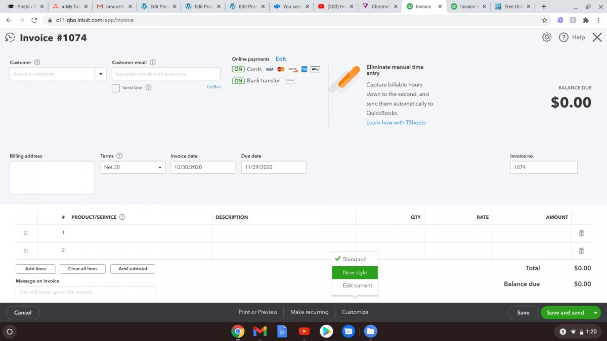 create QuickBooks Online template