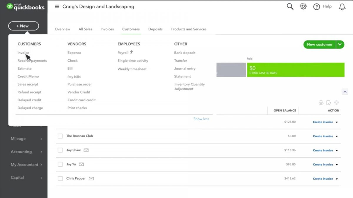 create and send invoices in QuickBooks Online